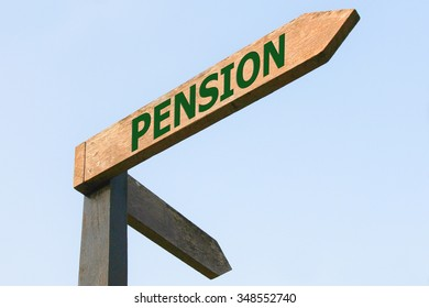 PENSION word on wood roadsign