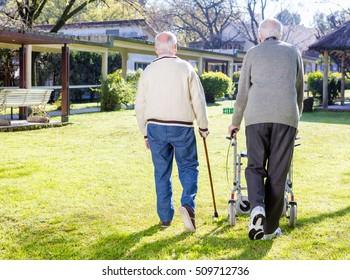 Pensioner friends with handicap walking outdoor in garden, back view.