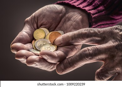 Pensioner man holding in hands euro coins.