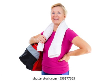 e0bc2bde5152bc Pensioner woman sport. Happy of Senior old woman with sport bag on shoulder  and towel