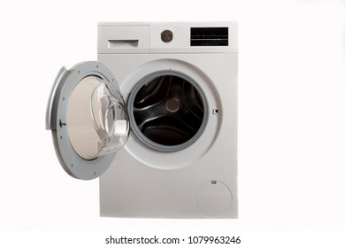Pensioners received social assistance, new washing machine of latest generation. They brought washing machine home and installed it for inspection. Isolated on white background. Copy space