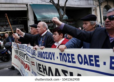 Pensioners shout slogans during a demonstration against planned pension reforms in Athens, Greece, March 8, 2018.