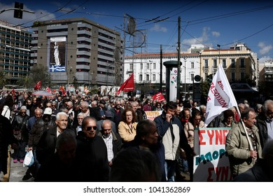 Pensioners take part in demonstration against planned pension reforms in Athens, Greece, March 8, 2018.