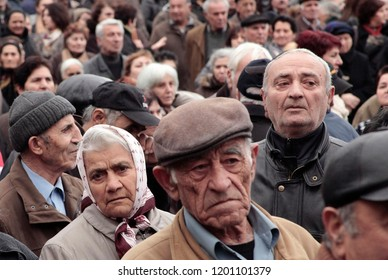 Pensioners take part in demonstration against planned pension reforms in Thessaloniki, Greece, Feb 13, 2013