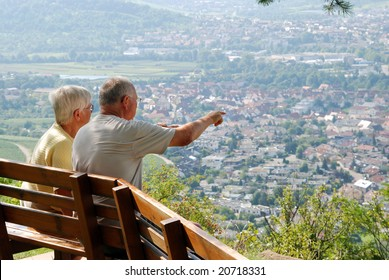 Pensioners viewing scenery