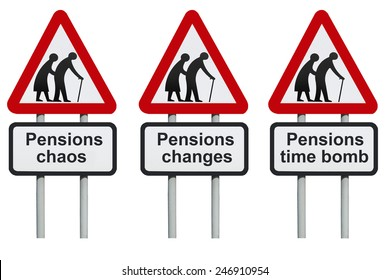 Pensions chaos, changes, time bomb road sign