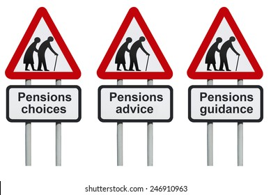 Pensions choices, advice, guidance road sign