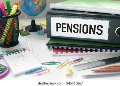 Pensions / File and papers on desk