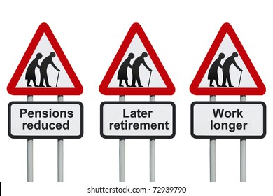 Pensions reduced warning road sign