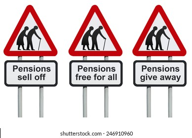 Pensions sell off, free for all, give away road sign