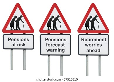 Pensions warning concept roadsign, isolated on white background