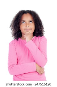 Pensive african little girl sitting on the floor isolated on white background
