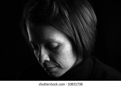 Pensive Attractive Brunette Woman
