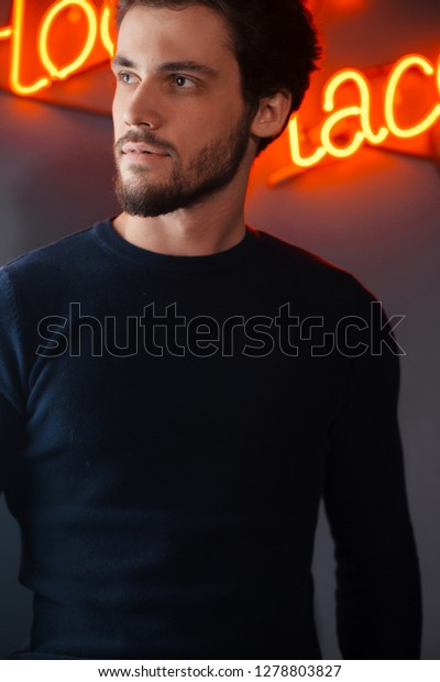 Magnificent Pensive Awesome Bearded Guy Stylish Clothes Stock Photo Edit Now Schematic Wiring Diagrams Phreekkolirunnerswayorg