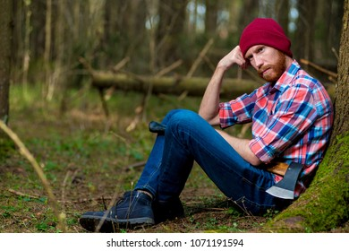 655a5dcdad5 Happy Bearded Lumberjack Ax Sitting On Stock Photo (Edit Now ...