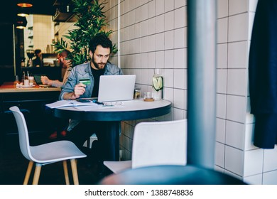 Pensive bearded young man in casual wear holding credit card in hand and making transfer money online on website using wireless internet connection on laptop computer sitting in cafe interior
