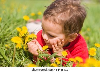 Pensive boy with dandelions