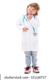 Pensive boy dressed as a doctor - isolated over white background