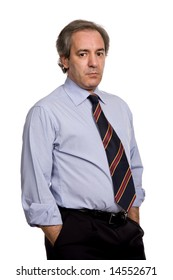 pensive business man, isolated over a white background