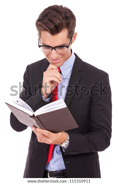 pensive business man Reading Book and smile on white background