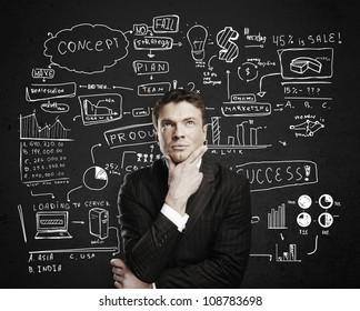 pensive businessman with business plan concept