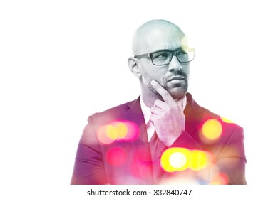 Pensive businessman double exposure isolated on white