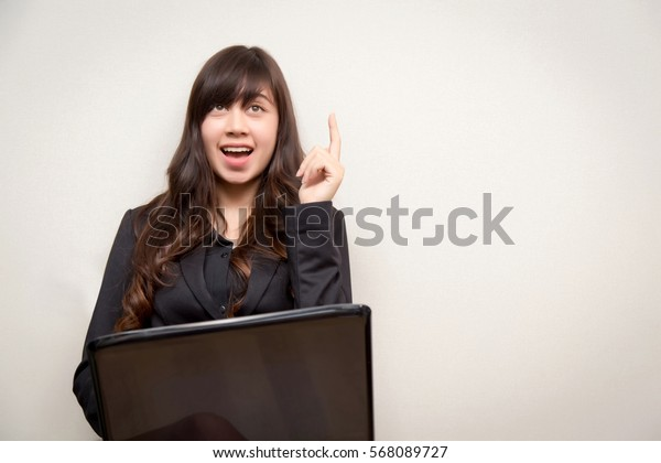 Pensive businesswoman at desk with laptop. concept for business.
