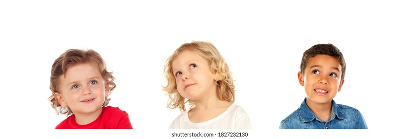 Pensive children imagining isolated on a white background