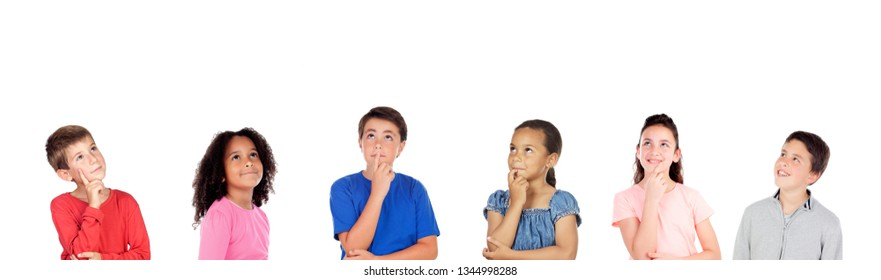 Pensive children thinking about something isolated on a white background