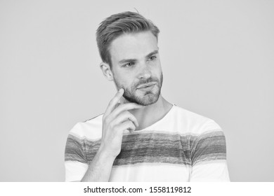 Pensive face. Find solution. Thoughtful man on yellow background. Hipster bearded face not sure in something. Hard question. Man serious face thoughtful. Have some doubts. Thoughtful expression.