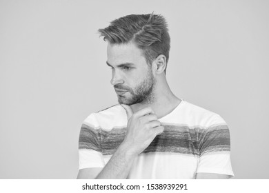 Pensive face. Man serious face thoughtful. Have some doubts. Thoughtful expression. Find solution. Thoughtful man on yellow background. Hipster bearded face not sure in something. Hard question.