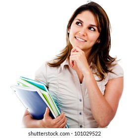 Pensive female student holding notebooks - isolated over white