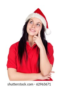 Pensive girl with Christmas hat isolated on a over white background