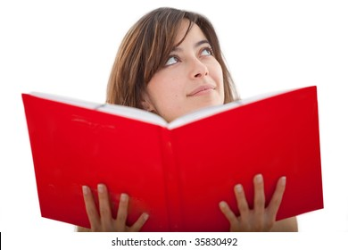 Pensive girl reading a book isolated over white