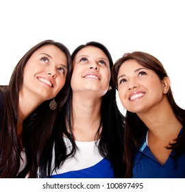 Pensive group of women looking up - isolated over a white background