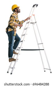 pensive handsome construction worker on ladder isolated on white