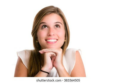 Pensive hispanic young woman thinking of the options. Image isolated on white with clipping path.