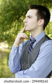 Pensive man looking into distance.