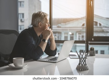 Pensive mature businessman having job with laptop while looking at window. Contemplative employer concept