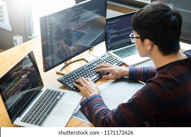 Pensive programmer working on on desktop pc programming code technologies or website design at office Software Development Company.