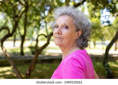 Pensive serene old lady enjoying outdoor walk. Side of senior grey haired woman in casual standing in park, turning face and looking at camera. Leisure outdoors concept