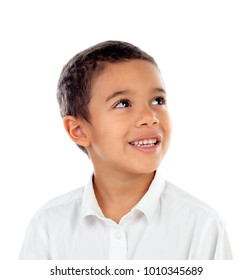 Pensive small child with t-shirt isolated on a white background