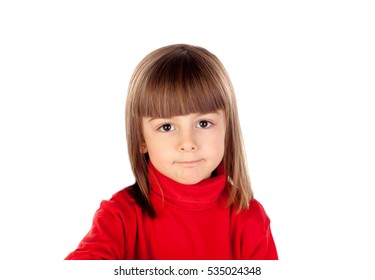 Pensive small girl with red t-shirt isolated on a white background
