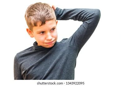 pensive teen boy on white background