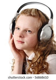 Pensive teenage girl with headphones