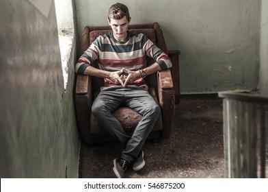 Pensive teenager Lone