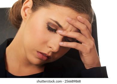 Pensive woman having a big trouble