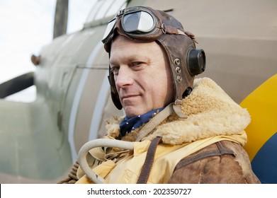 Pensive WW2 Fighter Pilot