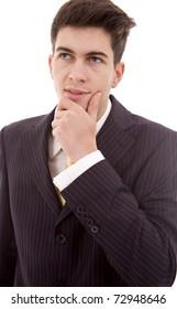pensive young business man portrait