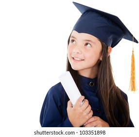 Pensive young female graduate - isolated over a white background